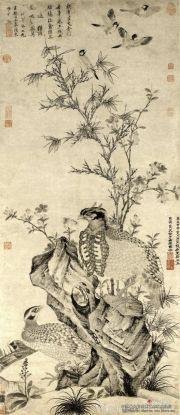 王渊的《竹石集禽图》