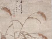 董朝用《芦塘双雁图轴》