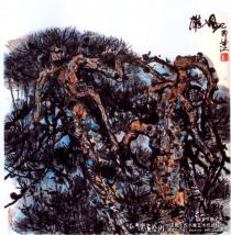 梁江的中国画造型独特 色彩讲究!