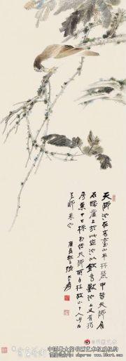 张大千花鸟画《栗树画眉》
