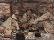 蒙古包中--常书鸿