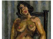 裸女靠立椅上红巾前