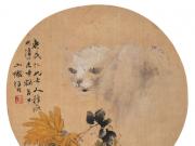 黄菊白猫--任伯年