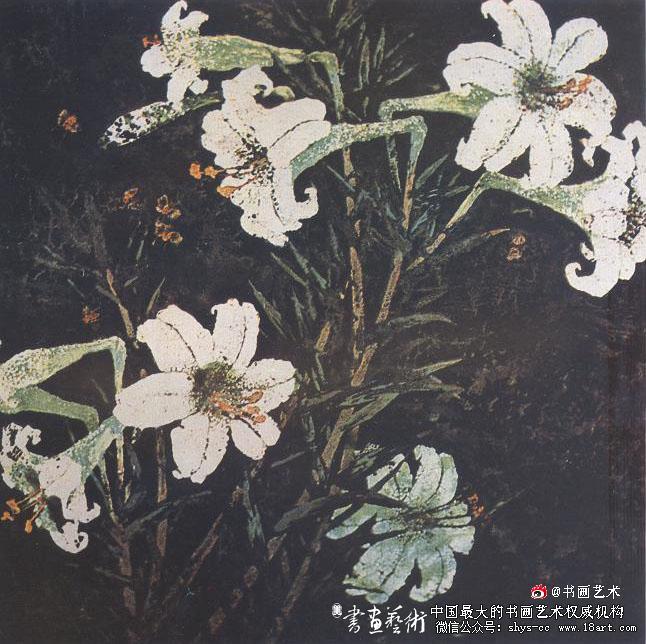 蔡克振漆画百合花