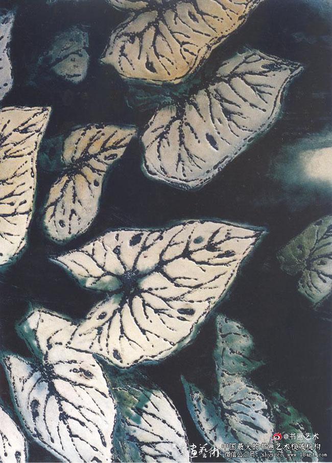 蔡克振漆画 花面叶