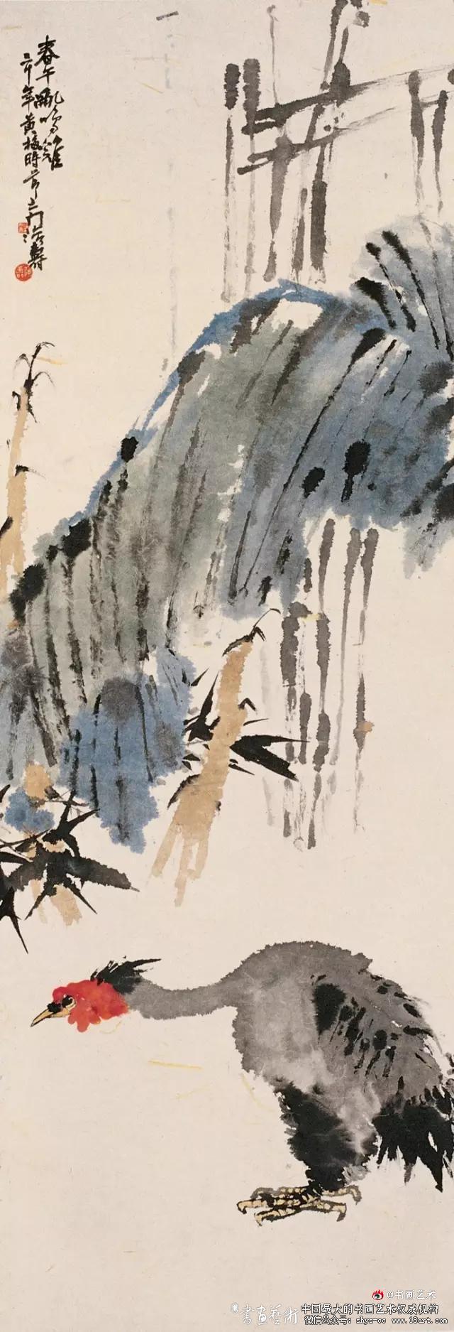潘天寿 1941年作 春午乱鸣鸡122.5×41cm