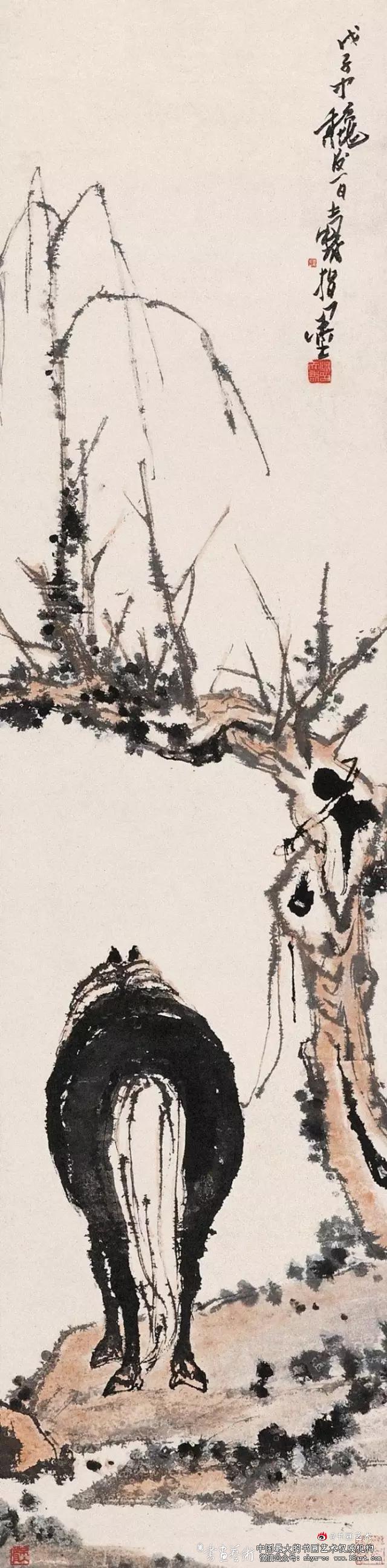 潘天寿 1948年作 西风古道135.3×33.6cm