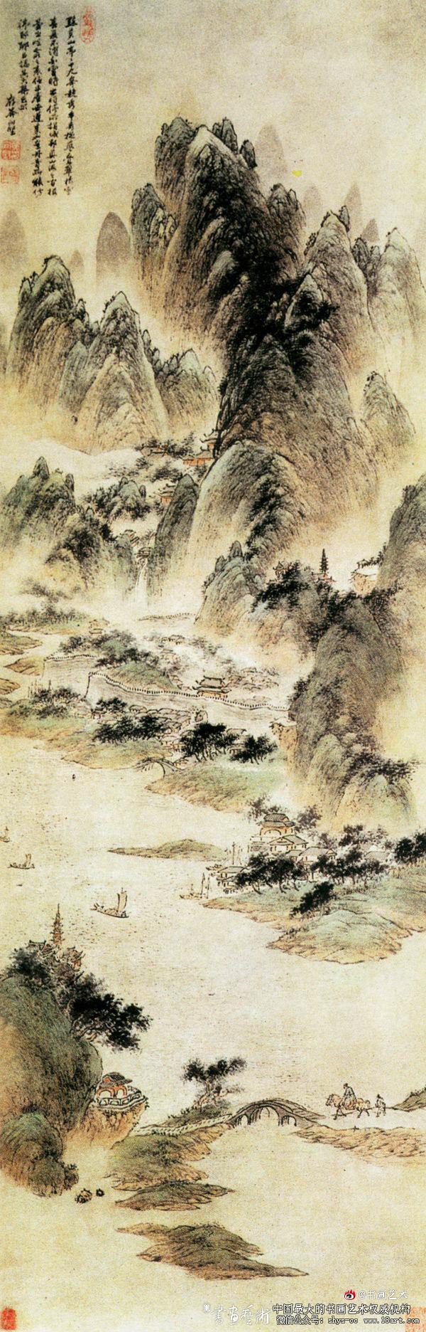 黄向坚的这幅《点苍山色图》(见右图),描绘的便是云南胜景。此作为纸本,设色,纵127.7厘米,横42.5厘米,现藏上海博物馆