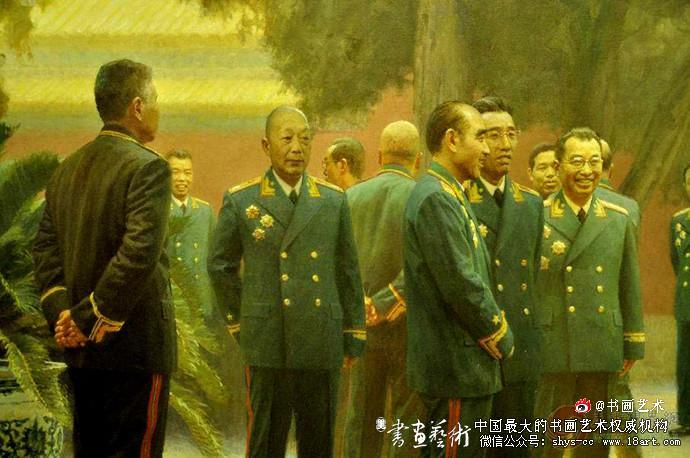 油画 陈坚《共和国的将帅们》