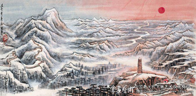 ▲李可染1972年作《北国风光》46cm×91cm