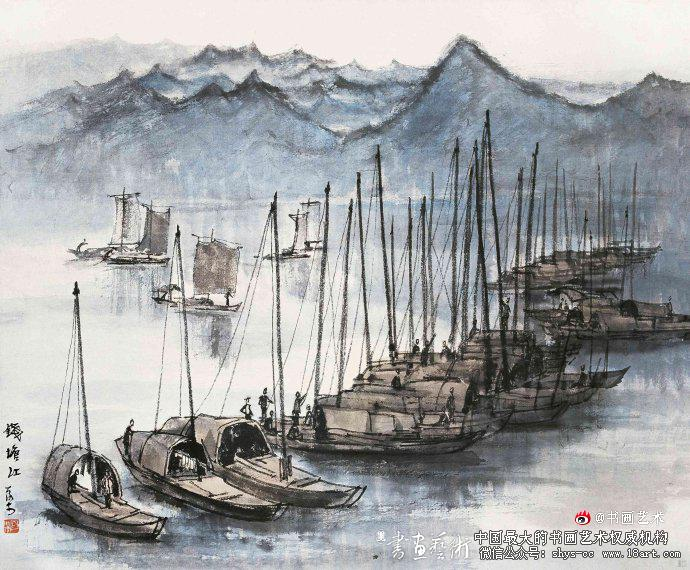▲李可染1954年作《钱塘江》42cm×49.5cm