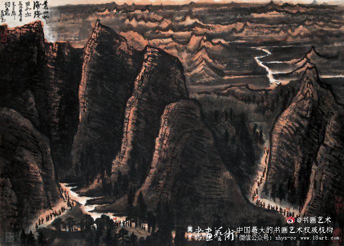 ▲李可染1965年作《苍山如海残阳如血》49cm×69cm