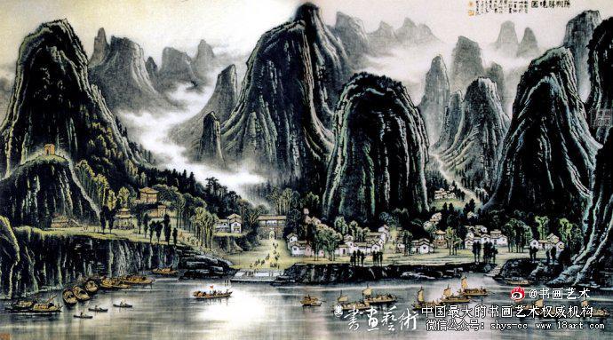 ▲李可染1972年作《阳朔胜境图》211cm×384cm