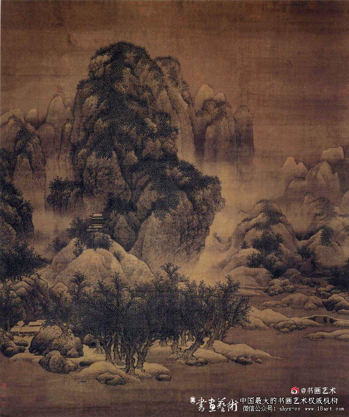 北宋 范宽 雪景寒林图 绢本设色 193.5x160.3cm 天津博物馆藏