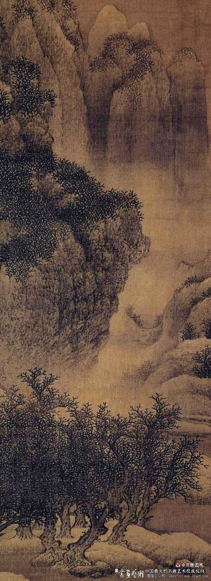 北宋 范宽 雪景寒林图 绢本设色 193.5x160.3cm 天津博物馆藏  局部