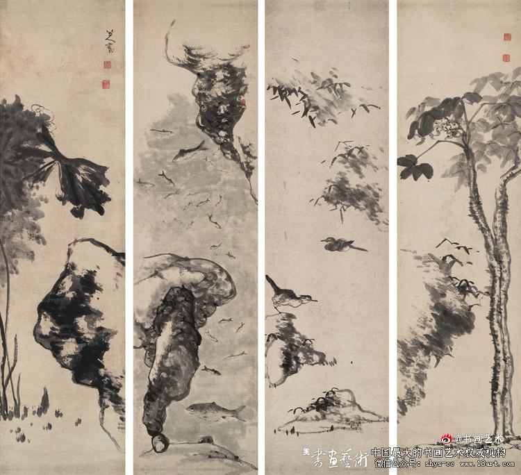 八大山人 花鸟鱼石 立轴(四幅) 182×49cm×4