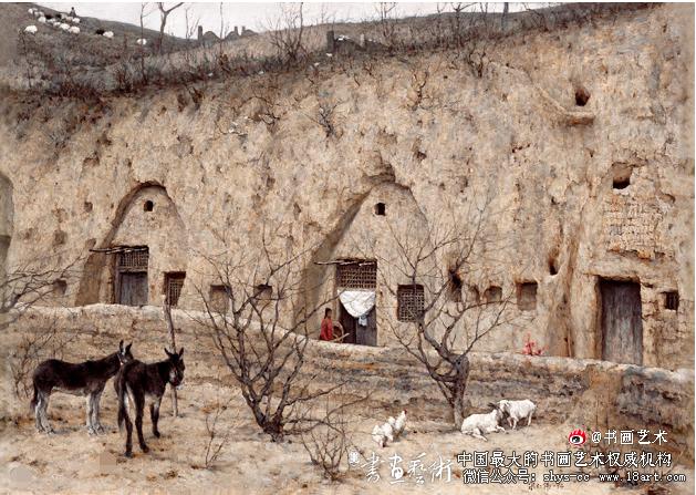 陕北窑洞  作者:宋仁伟  创作年代:1994  规格:46.5×67cm  材质:蔴布