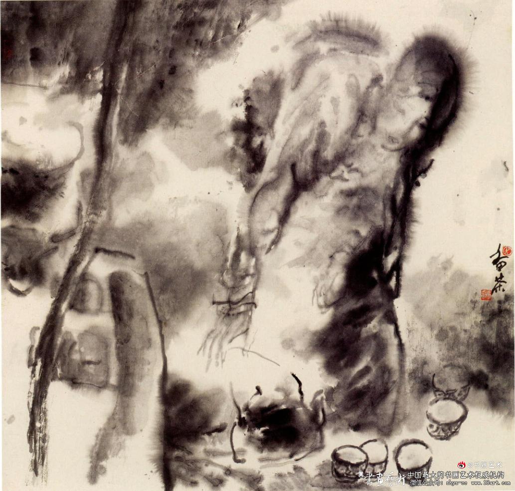 吴山明 备茶 98cm x 98cm