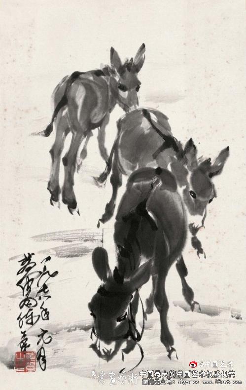 黄胄 三驴图