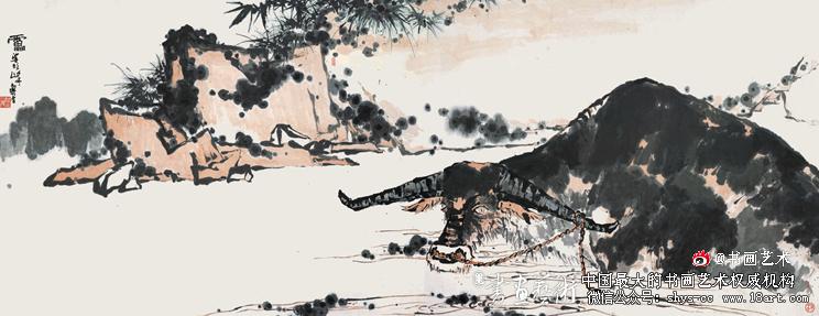 夏塘水牛图卷 1960年代 142.7×367cm 潘天寿纪念馆藏