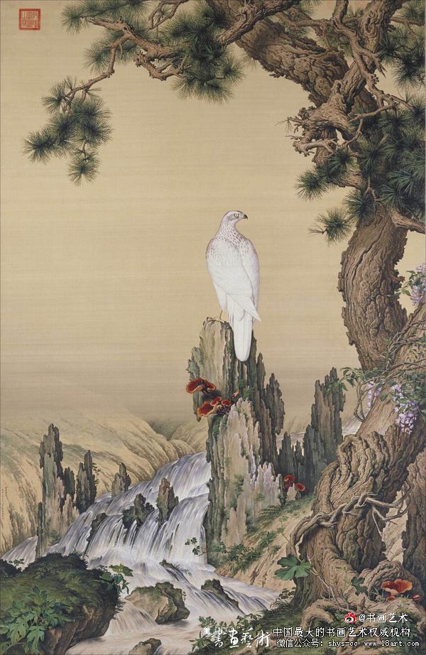 清 郎世宁 《嵩献英芝图》现藏于北京故宫博物院 242.3cmx157.1cm 绢本设色
