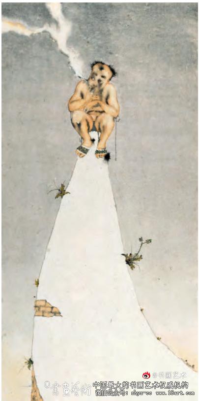 《墙头儿》刘庆和 纸本设色水墨 300cm×150cm 2015年