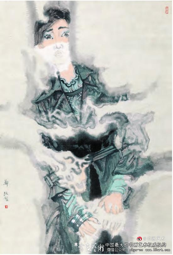《天空下——愕》郑 强 纸本设色 115cm×78cm 2016年