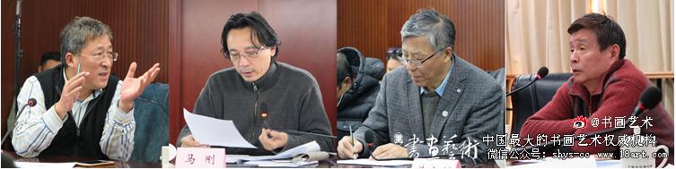 美术家(左起)于文江、马刚、王铁牛、王嫩介绍作品