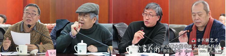 美术家(左起)张峻明、吴宪生、李晓林、宋克介绍作品