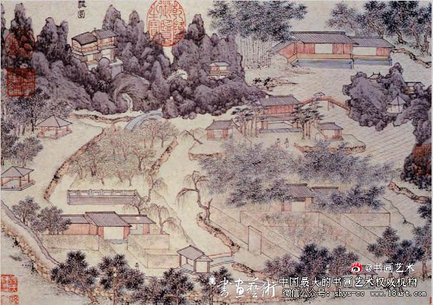 张宏 止园 绢本设色 23.1cm×19.1cm