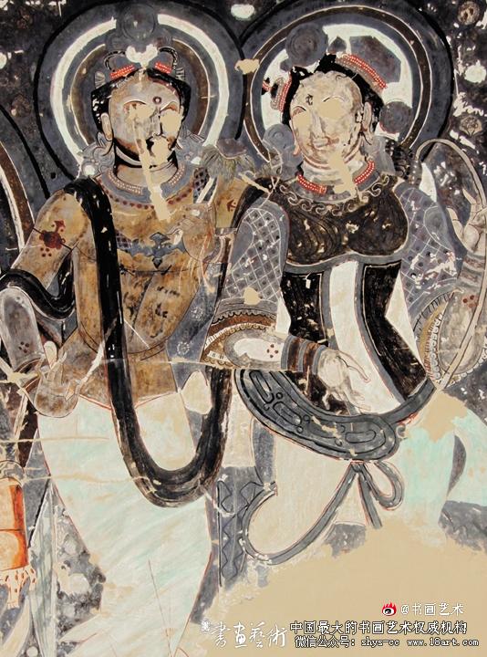 李佛 临摹克孜尔石窟第179窟《善爱乾达婆王》 147×80cm