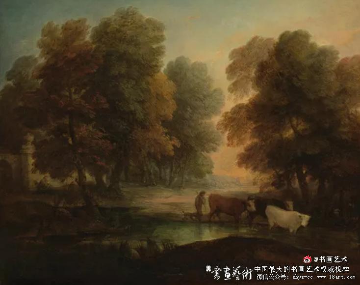 池塘边赶牛的少年 托马斯·庚斯博罗 584×762mm 约1786  泰特:1847年罗伯特·弗农赠送