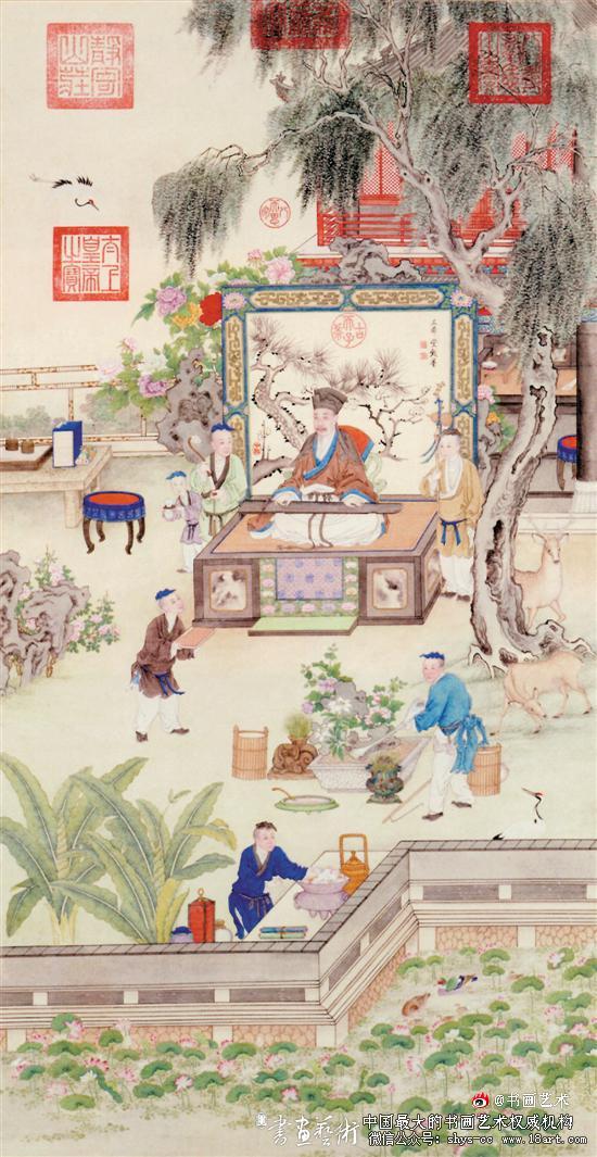清乾隆 佚名 乾隆帝薰风琴韵图轴 纸本设色 纵149.5厘米 横77厘米 故宫博物院藏
