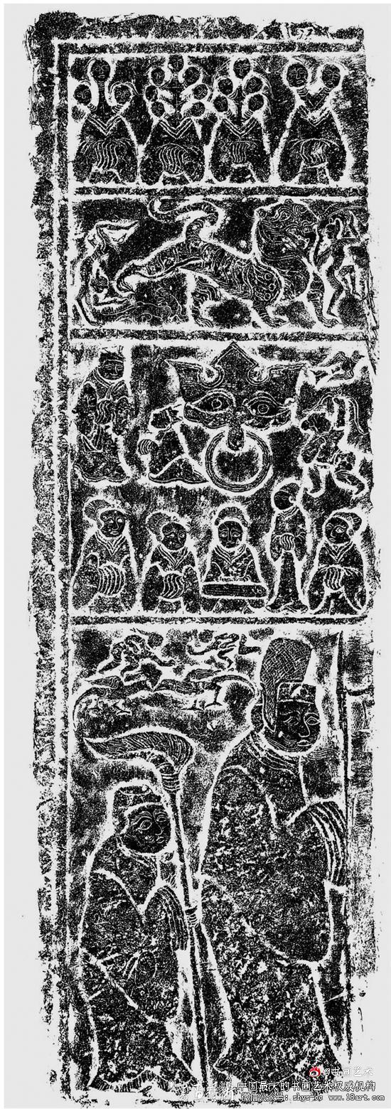 济宁城南张墓门扉画像  154×50cm 济宁市博物馆